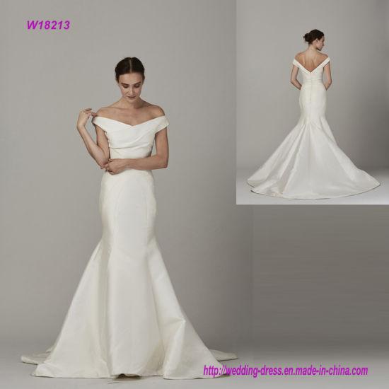 China Off The Shoulder V Neck Open Back Mermaid Wedding Dress