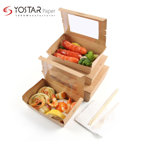 Custom Disposable Portable Design Lunch Food Packing Paper Box with Window