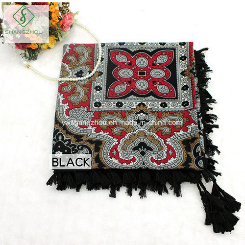 Western Design Fashion Lady Square Scarf with Tassels Twill Cotton