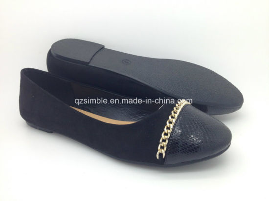 Fashion Black Women Shoes with Flat Heel