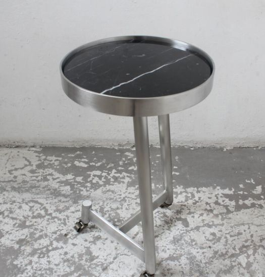 Marble Coffee Table With Metal Legs: China Small Round Stainless Steel Legs With Black Marble