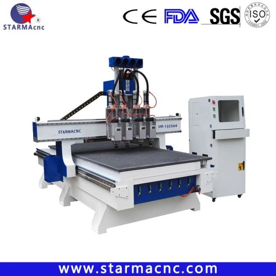 Multi Head 4 Spindles Wood Furniture CNC Router (SM-1325H4)