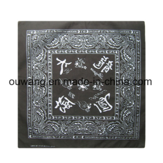 Popular Personalized Cotton Black Handkerchief Paisley Bandana pictures & photos