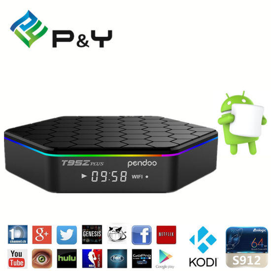 Amlogic S912 64 CPU Android TV Box Pendoo T95z Plus 2g/16g with LED Display  Ott TV Box OEM Accept TV Box Android