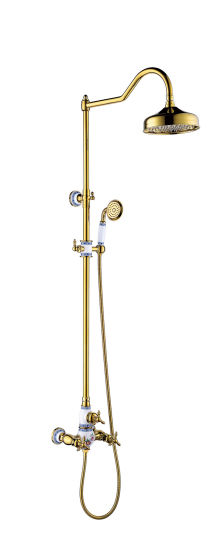 New Design Ceramic Double Handle Zf 603 Antique Brass Rain Shower