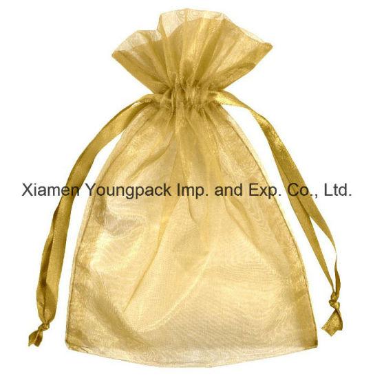 china fashion promotional custom personalized small gold organza