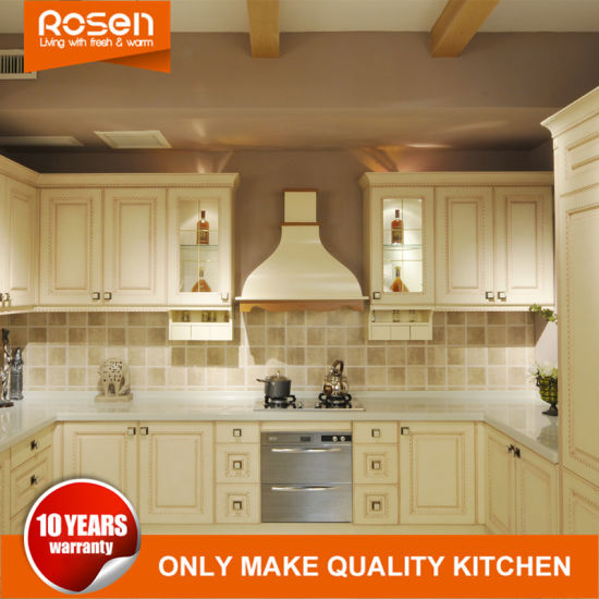 European Style White MDF Solid Wooden Rta Kitchen Cabinets Chinese Furniture