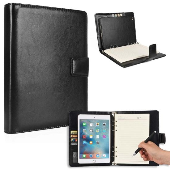 Black Pad and Card Holder PVC Leather Notebook