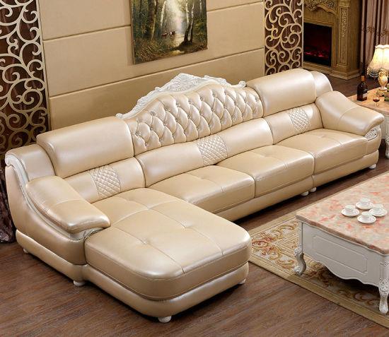 China Royal Style L Shape New Clic Home Furniture Leather Sofa