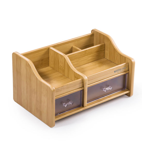 Multi Functional Wooden Desk Organizer With 2 Drawers