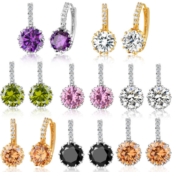 Ladies Copper Material CZ Gold Plated Fashion Earring pictures & photos