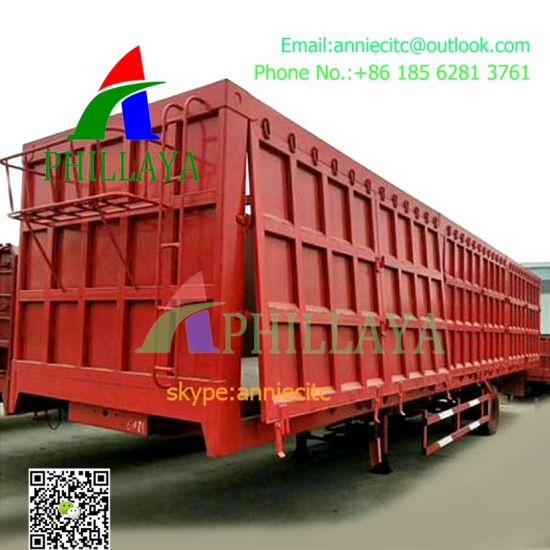 Multi-Function 3 Axles Van Hydraulic Side Tipper Box Enclosed Bulk Cargo Transport Semi Trailer Top Curtain Wings Open Body Vehicle Optional pictures & photos
