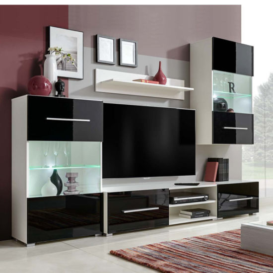 China Modern Tv Unit With Led Lights Black High Gloss Cabinet