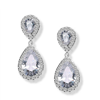 Simple Zirconia Stone Zircon CZ Stud Ear Rings Brass Drop Studs Earrings Jewelry Earring pictures & photos