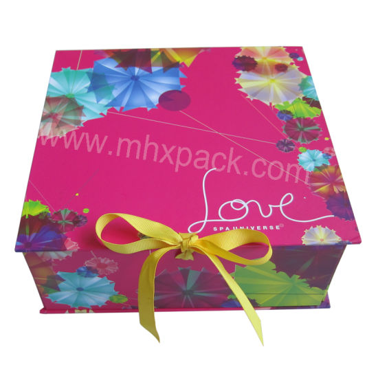 Colorful Foldable Rigid Paper Gift Packaging Box with Ribbon