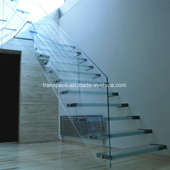 Glass Floating Staircase with Antislip Glass Tread