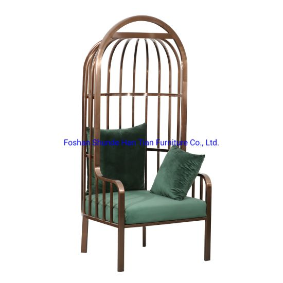 Wholesale Balcony Swing Hammock Leisure Single Sofa Chair Rose Gold Metal Living Room Chairs