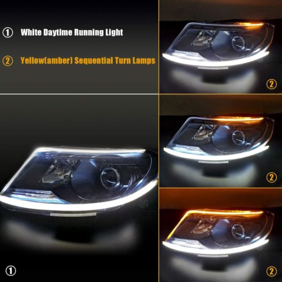 Flexible LED Light Strip 2PCS 24 Inches Dual Color White-Amber Sequential Switchback DRL LED Kit Waterproof for Car Replacement Switchback Headlight Decorative