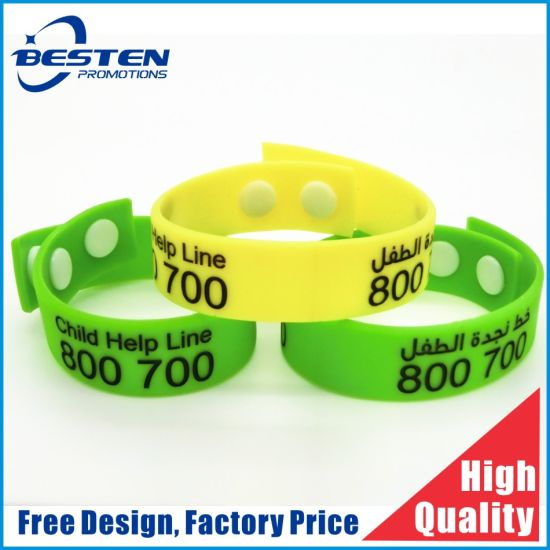 Custom Debossed Colorfill Logo Sport Silicone Wristband with Button