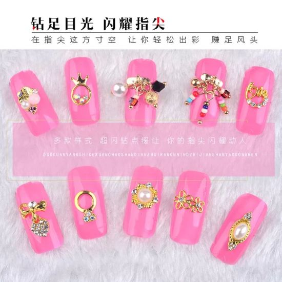 3D Charms Gold Metal Alloy Diamonds Pearls Nail Jewelry Accessories pictures & photos