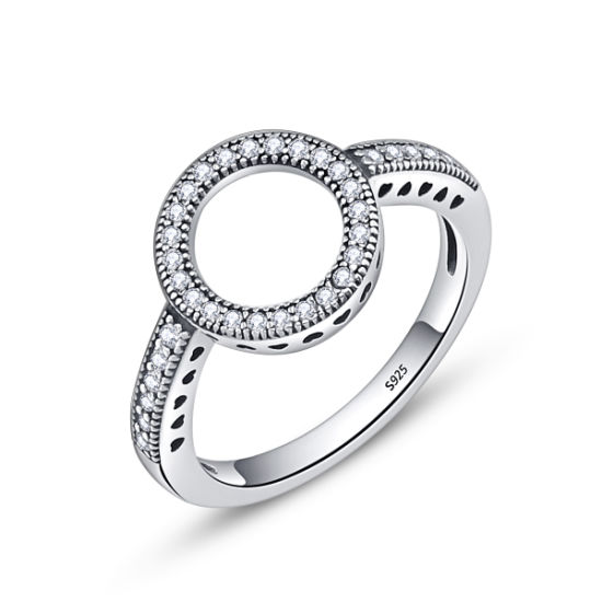 New Trendy Clear CZ Circle Round 925 Sterling Silver Ring