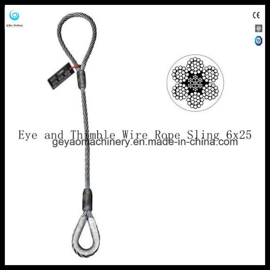 Single Leg Stainless Steel/Galvanized/Bright Wire Rope Lifting Slings - Eye  and Eye Hook 6X25