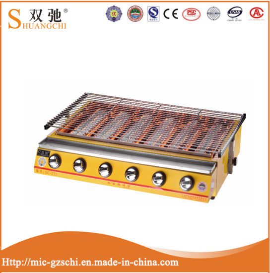 Hot Sale Ce Commercial Yellow Six Head Gas BBQ Grill