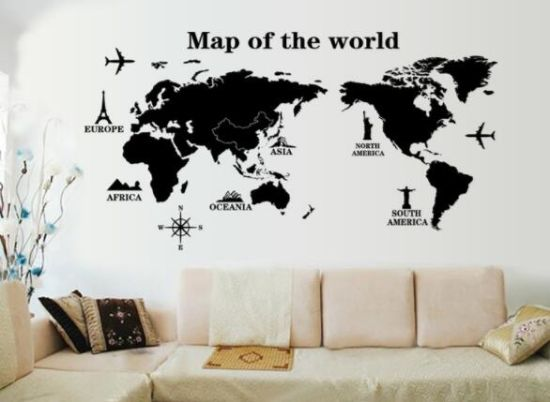 Removable Vinyl The World Map Wall Sticker Home Decoration