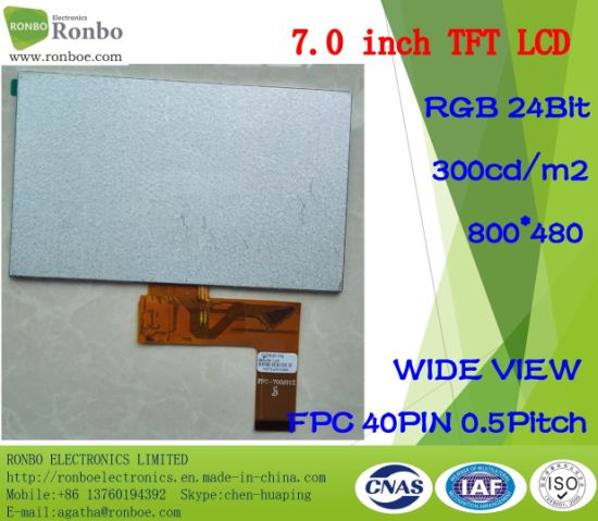 "7.0"" 800*480 RGB 40pin 300CD/M2 Wide View TFT LCD Display pictures & photos"