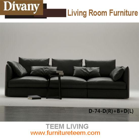 China Modern Living Room Furniture Hotel Reception Leather Sofa ...