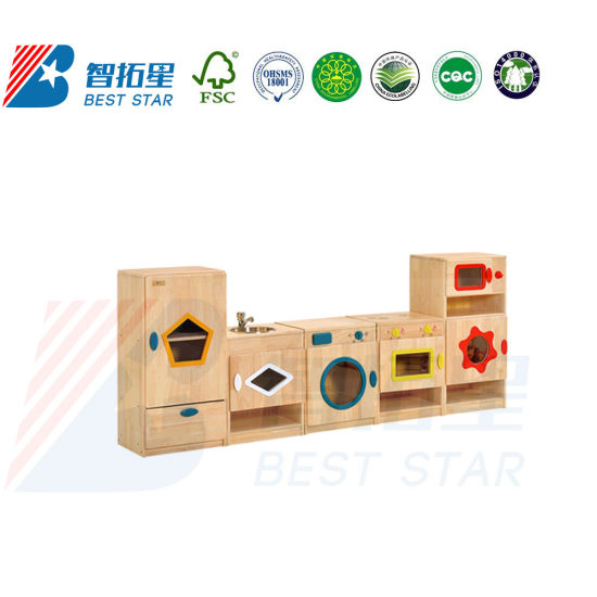 Kids Nursery School Dramatic Play, Kindergarten Preschool Kids Indoor Playground, Dress up and Role-Play Puppet Workstation, Wood Kitchen and House Play Set