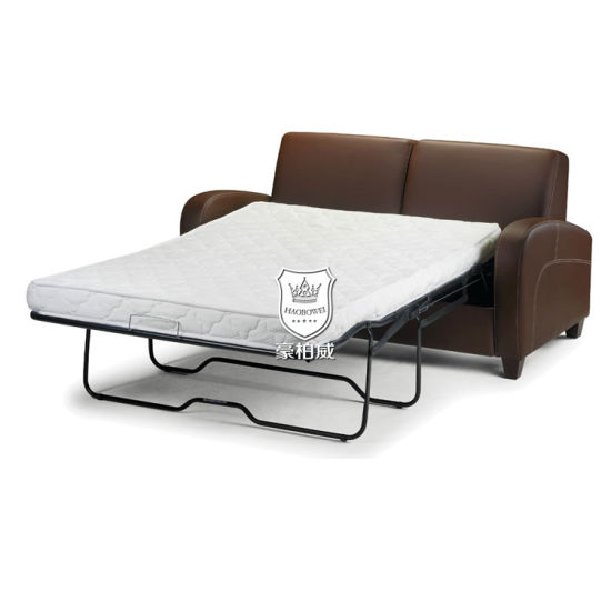 China Chestnut Artificial Leather Two Seat Sofa Bed With Mattress