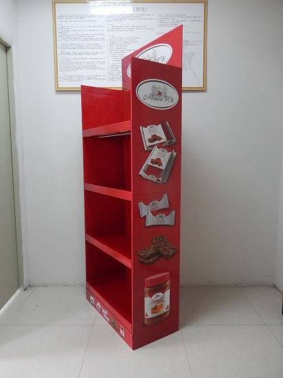 Biscuits Cardboard Floor Display for Europe Market, Glossy Laminated Supermarket Display Stand pictures & photos