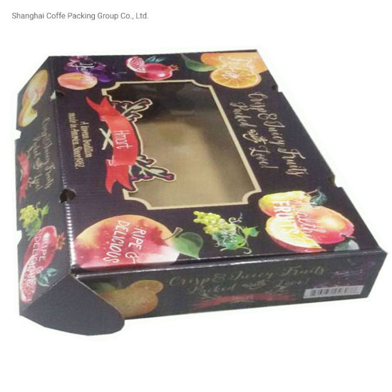 Competitive Price Wholesale Cardboard Fruit Packaging Box with PVC Clear Window