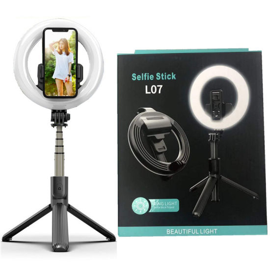 L07 Tiktok Live's Mobile Phone Stand Selfie Ring Lamp with Tripod Stick Portable Adjustable Height Phone Holder