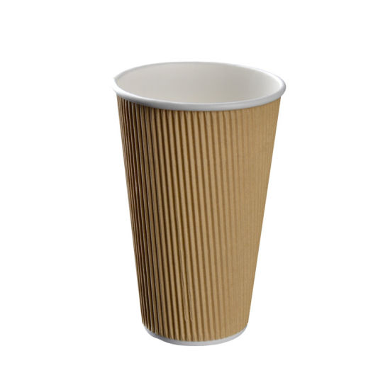 Kraft Ripple Triple Wall Hot Drink 16oz Paper Disposable Cups