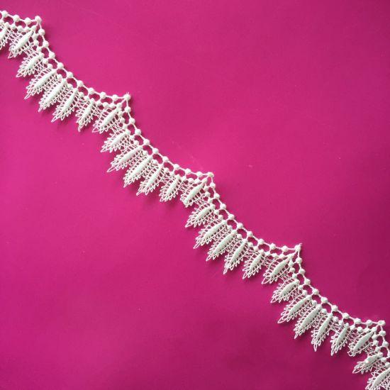 Fashion Embroidery Lace Trim Micro Fiber White Black Water Melts Lace