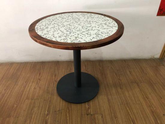 Industry Wooden Unique Mosaic Tile Top, Mosaic Tile Round Table Top