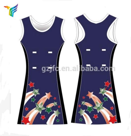 OEM Ladies Net Ball Dress Popular Polyester Fabric Shirt Moisture Wicking Net Ball Suit Jfc-Sk001