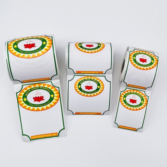 Custom Supermarket Price Printing Thermal Paper Adhesive Food Label Sticker Roll