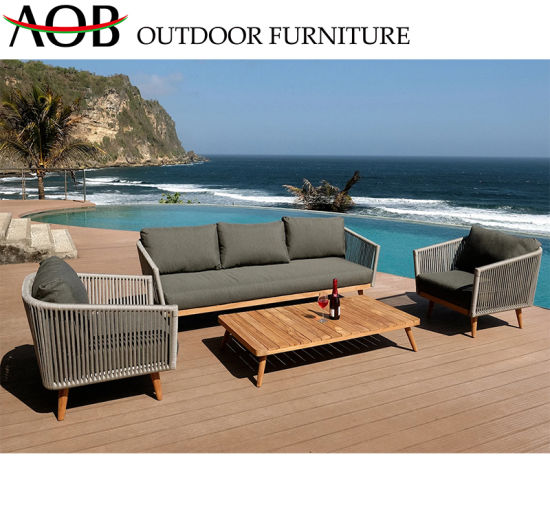 Wholesale Outdoor Garden Furniture Woven Rope Beach Hotel Leisure Square Table Sofa Set