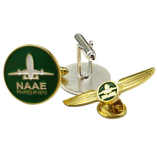 Manufacturer Custom Uniform Decoration Airplane Button Badges Company Promotional Gift Lapel Pins Metal Soft Enamel Man Shirt Cufflink in Chain