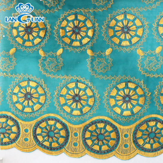 Fancy Green Tc Embroidery Fabric Lace for Sofa & Clothing with Beads