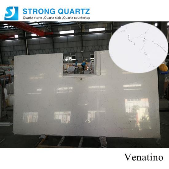 Prefab Carrara White/Black/Grey/Yellow/Blu/Beige/Red Marble/Granite Looks Artificial/Engineered Quartz Stone for Kitchen/Bathroom Countertops