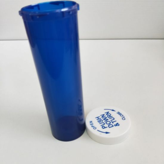 Plastic Child Resistant Container Vial Dual Purpose Caps