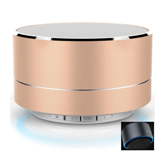 LED Light Wireless Mini Wireless Bluetooth Speaker Metal Round Portable Speaker