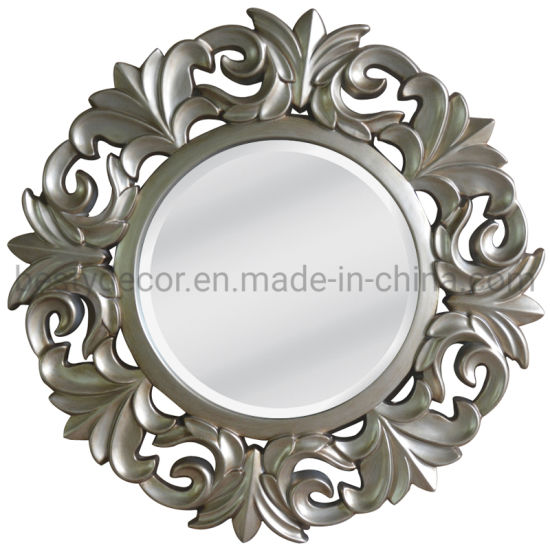 China Set New Design Round Home Decor Hanging Wall Frame Mirror China Wall Mirror Frame Wooden Framed Mirror