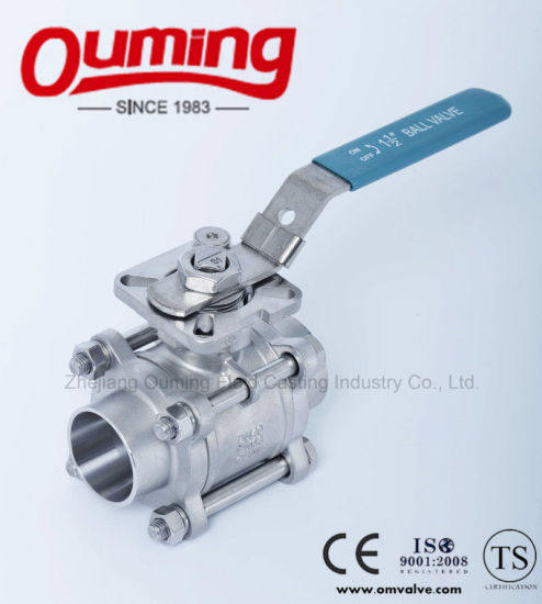 High Quality 3 PC Stainless Steel Threaded Floating Ball Valve with Mounting Pad pictures & photos