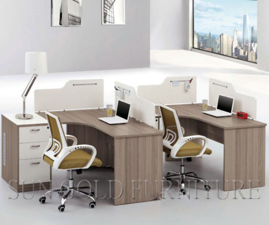 Classic Wooden Partition Office Cubicle Cheap Office Workstation for 3 Person (SZ-WS349) pictures & photos
