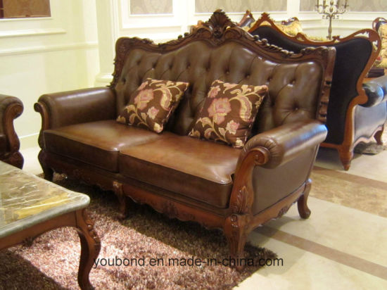 0052 Dark Color Matt Lacquer Solid Wood Hand Carved Classical Leather Or  Fabric Sofa